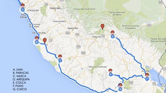 Viaje a Perú Ruta Amaru Mapa